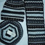 Стильный набор берет удлиненная шапка шарф,новый