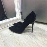 Туфли черные лодочки замш