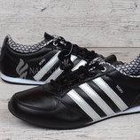 Кроссовки кожаные Adidas Midiru Индонезия черные с белым