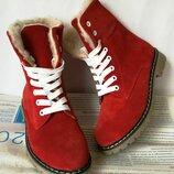 Супер зимние стильные женские сапоги ботинки Timberland теплые нубук