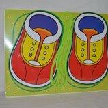 Большая деревянная игрушка Шнуровка А4 ботиночки ботинки
