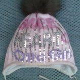 зимняя шапка с натуральным пампоном р.48-50