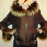 Женская коротенькая куртка пихора ,натуральный мех кролика, р. 48-50