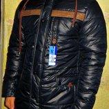 Куртка зимняя парка на меху мужская темно-синяя, комбинированная.