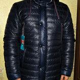 Куртка - парка зимняя прямая темно-синяя.
