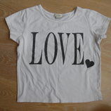 футболка 9-10 л майка детская девочке белая сердечко топ белая короткая River Island Ривер Айленд