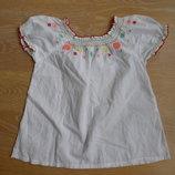 Вышивка сорочка детская девочке белая цветы H&M НМ 100% котон