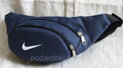 Сумка на пояс Найк Премиум синяя бананка мужская женская барсетка поясная через плечо