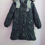 р. 134. Зимнее пальто Wojcik коллекция party girl. Пальто черного цвета, ткань блестит. Плотный вяза