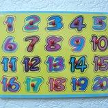 Деревянная рамка-вкладыш с ручкой Цифры