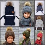 В наличии Детская зимняя шапка для мальчика от 2 лет с искусственным мехом 47 48 50 52 54 56
