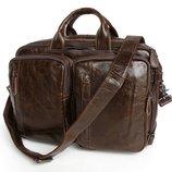 Кожаная сумка-трансформер Бесплатная доставка рюкзак, портфель винтажная кожа экстра класса 7014Q-1