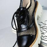 Крутые Мокасины Туфли Для Модницы Черные Сетка