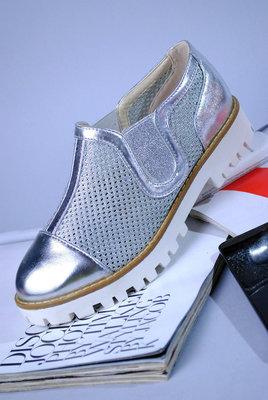 Моднейшие Мокасины Туфли Серебро -Сетка Для Модной