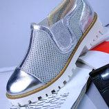 Моднейшие Мокасины Туфли Серебро Для Модной