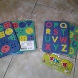 Продам развивающие игры пазлы шнуровка геометрия и английский алфавит.