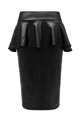 Кожаная юбка с баской. Модная юбка-карандаш с эко.кожи
