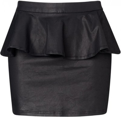 Кожаная юбка с баской . Короткая юбка с эко.кожи