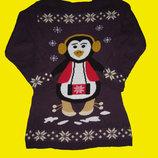 Теплое платье с пингвином на подростка