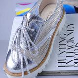 Крутые Моднейшие Мокасины Туфли Серебро-Сетка