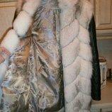 Куртка жилет трансформер из натурального меха песца и натуральной кожи