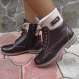 Ботинки женские зимние. S-24. натуральная кожа. коричневые