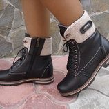 Ботинки женские зимние. S-25. натуральная кожа. черные