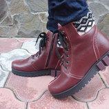 Ботинки женские зимние. S-26. натуральная кожа. бордовые
