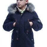 Подростковая зимняя стильная парка на мальчика