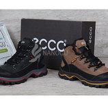 Ботинки зимние Ecco Gore-tex женские кожаные на меху черные