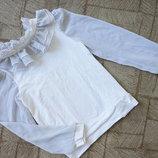 Белая блузка с жабо в школу рост 140-146см
