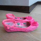 Туфли девочке 18,5 см яркие розовые кружево нарядные балетки George Джорж