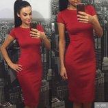 Недорогое модное платье-футляр с коротким рукавом