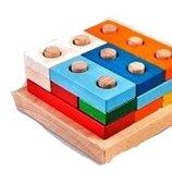 Деревянная пирамидка логика большая конструктор 2 Руди Ду-34 Дерево