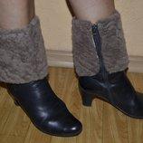 Ботиночки Зимние , Черные , Натуралочка , кожаные , цигейка