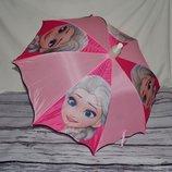 Зонтик зонт трость детский полуавтомат в пластиковом чехле тканевый Холодное сердце Frozen Эльза