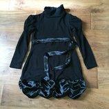 Платье миди черное теплое вязаное шерстяное с атласным поясом разм. 40-42