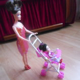 Кукла 2 шт. с коляской мама и дочка