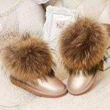 Угги женские кожаные мех лисица зимние сапоги ботинки сникерсы дутики