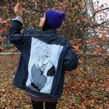 by koko4ka M-L-XL ручная роспись джинсовка джинсовая куртка оверсайз пальто платье