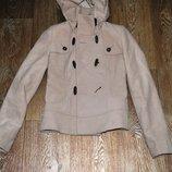 Пальто полупальто бежевое 40 42 s 36 модное xs