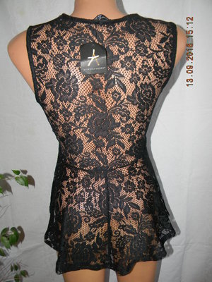 Новая черная кружевная блуза