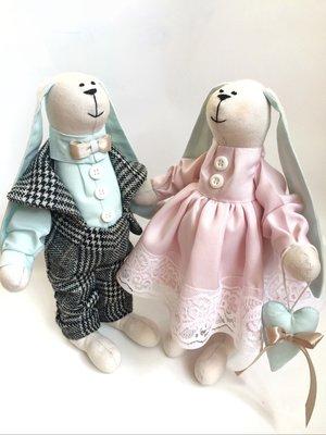 Пара заек Мятно-Розовые, в наличии ручная работа подарок дочке подруге маме день рождение