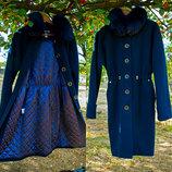 Пальто кокон Oversize женское Зимнее, Шерсть Натуральный мех Samang синее Вечная классика