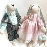 Пара заек Мятно-Розовые, ручная работа подарок дочке подруге маме день рождение