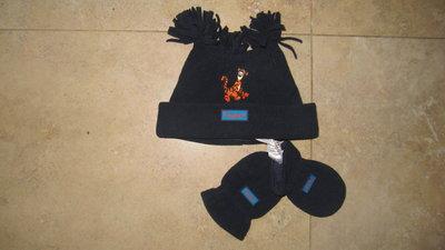 Новый флисовый набор шапочка и рукавички Disney, 3-6 мес.
