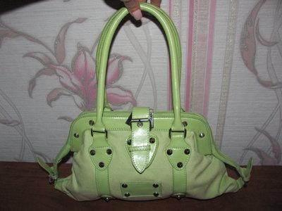 Тканевая салатовая сумочка с кожзамом