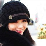 Теплая шапка-кепи на осень-зиму. Подойдет на большой объем. Черная Розовая