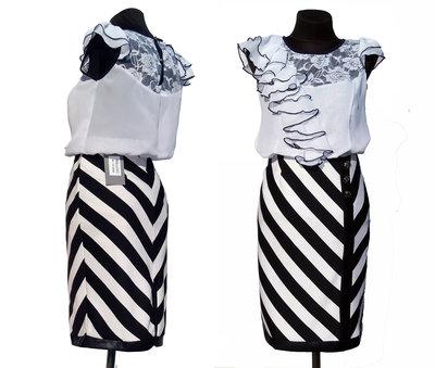 Распродажа . Классная юбка карандаш, полоска. Высокая талия. Все р 42-48