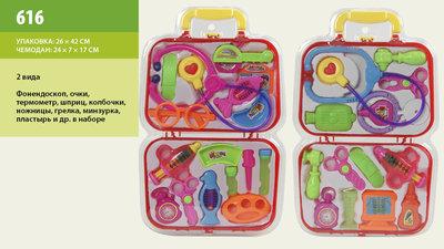 Доктор, 4 вида стетоскоп,монитор,молоточек,ножницы,ванночки,буты 616